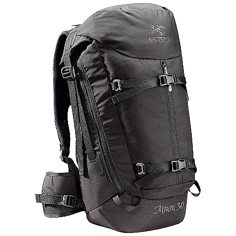 Camp and Hike On Sale. Free Shipping. Arcteryx Miura 30 Pack DECENT FEATURES of the Arcteryx Miura 30 Pack Full length side zippers with security snap closures Kangaroo pocket with external and internal access zippers Fits a standard 17 inch laptop Breathable backpanel, shoulder straps and hipbelt RollTop closure Top loading pack with RollTop closure and full-length side zippers with security snap closures Anatomically shaped shoulder straps and hipbelt and backpanel utilize breathable materials for hot weather carrying comfort Fullyseparating front panel for increased accessibility Top pocket, kangaroo pocket with external and internal access zippers Hydration bladder clip and HydroPort Two internal gear racking loops Removable compression straps Two top grab handles The SPECS Material: 260D Invista Ballistic Superpack nylon 210D Plain Weave nylon 630D Invista HT Superpack nylon EV50 foam Hypalon trim Spacermesh 6005 M-Bar custom extruded stays HDPE framesheet The SPECS for Regular Weight: 67 oz / 1.9 g Volume: 1831 cubic inches / 30 liter The SPECS for Tall Weight: 74 oz / 2.1 g Volume: 2136 cubic inches / 35 liter Care Instructions Surface clean only This product can only be shipped within the United States. Please don't hate us. - $168.99