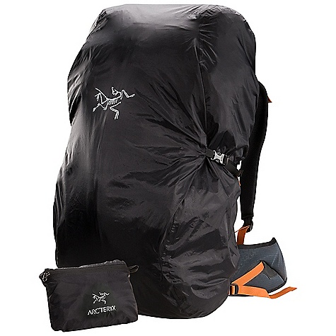 Arcteryx Pack Shelter FEATURES of the Arcteryx Pack Shelter Weather resistant Lightweight, compressible and packable Drawcord closure, compression straps Stuff pocket with zipper Reinforced bottom Reflective BIRD logo Highly weather resistant P75p Polyester fabric with PU coating Contoured shaping with drawcord closure, compression straps for a secure fit Design provides easy access to top of pack Fit most packs up to 95 litres DWR finish (Durable Water Repellent) helps repel water from fabric surface Laminated seams reduce weight and bulk Taped seams for added weatherproofness A super lightweight non-absorbent Polyester pack cloth, constructed with a plain weave for maximum durability - $40.00