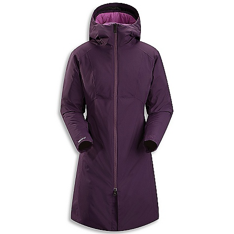 The Arcteryx Women's Sylva Parka. This version of a traditional parka coat is cut extra long to keep legs and lower torso warm. The Windstopper shell fabric repels gusts and repels precipitation. Insulated with Coreloft 140 and 80 Insulation, thermally-efficient jacket is perfectly suited for casual activities. Features of the Arcteryx Women's Sylva Parka Non-quilted external construction eliminates cold spots Gusseted underarm allow for an unrestricted range of motion Filled with quick drying, durable Coreloft synthetic Insulation that retains warmth in humid and wet conditions Insulated hood and collar Two zippered hand pockets and one internal zippered security pocket Relaxed Fit garments rely on articulation and Higher volume patterns to provide comfort and mobility Chin guard with brushed microsuede facing for added comfort Adjustable cuff with Velcro closure Micro-seam allowance (1.6 mm) reduces bulk and weight Non-quilted, laminated construction eliminates cold spots Full seat coverage Full separating two-way front zip Relaxed Fit garments rely on both articulation and Higher volume patterns to provide comfort and mobility DWR finish (Durable Water Repellent) helps repel water from fabric surface Women's specific design and Fit - $399.00