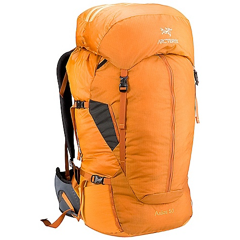 Camp and Hike On Sale. Free Shipping. Arcteryx Men's Axios 50 Backpack DECENT FEATURES of the Arcteryx Men's Axios 50 Backpack Top grab handle Side zipper access Reinforced high wear areas Map pocket Two stretch-mesh pockets Anatomically shaped shoulder straps and hipbelt Breathable shoulder straps and hipbelt Top loading Lightweight, top loading pack with highly-breathable shoulder/harness straps maintains comfort during aerobic activity AeroForm backpanel disperses perspiration, improves breathability Twin aluminum stays and anatomically shaped shoulder straps and hipbelt provide solid support while in motion Modular sternum strap Removable/ extendable top lid with two zippered compartments Top grab handle Four compression straps Key clip Micro daisy chains Kangaroo pocket Hydration bladder sleeve with HydroPort and modular hose clip Activity: Trekking The SPECS Material: Spacermesh 100D Invista HT Mini Ripstop with silicone and PU coatings 420D Invista HT Plain Weave EV50 foam Hypalon trim 210D Ripstorm with silicone and PU coatings 840D Stretch mesh AeroForm mesh EV50 Perforated foam 6005 M-Bar custom extruded stays HDPE framesheet The SPECS for Regular Weight: 55 oz / 1.55 kg Volume: 3051 cubic inches / 50 liter Extend To: 3356 cubic inches / 55 liter The SPECS for Tall Weight: 56 oz / 1.6 kg Volume: 3234 cubic inches / 53 liter Extend To: 3661 cubic inches / 60 liter Care Instructions Surface clean only This product can only be shipped within the United States. Please don't hate us. - $178.99