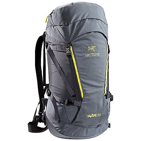 Climbing Free Shipping. Arcteryx Nozone 35 Backpack DECENT FEATURES of the Arcteryx Nozone 35 Backpack C2 (Composite Construction) system Twin 6005-T6 extruded aluminum M-bar stays removable Top loading with double-pull, easy open collar cordlock system Removable top lid with zippered compartment and key clip Extendable collar and top lid adds additional capacity Dual haul loops permit hauling on route or clipping off at the belays Thermoformed anatomically shaped shoulder straps Adjustable position sternum strap Four compression straps - two on each side Stretch-mesh wand pocket Reinforced high wear areas for greater durability Dual P'ax ice tool carry systems Bungee front attachment system for carrying crampons or stashing layers Skis can be carried in an A-frame configuration Removable 40 mm / 1.6 inch webbing hipbelt We are not able to ship Arcteryx products outside the US because of that other thing. We are not able to ship Arcteryx products outside the US because of that other thing. We are not able to ship Arcteryx products outside the US because of that other thing. The SPECS 210D nylon 6.6 plain weave 420D nylon 6.6 plain weave 100D mini ripstop 6005-T6 extruded aluminum M-bar stays HD 80 foam Burly Double Weave 500D ATY nylon 6.6 silicone treated with PU Hypercell foam Spacermesh The SPECS for Short Volume: 2074 cubic inches / 34 liter Weight: 36 oz / 1022 g Extend To: 2562 cubic inches / 42 liter The SPECS for Regular Volume: 2135 cubic inches / 35 liter Weight: 37 oz / 1045 g Extend To: 2624 cubic inches / 43 liter The SPECS for Tall Volume: 2196 cubic inches / 36 liter Weight: 38 oz / 1068 g Extend To: 2685 cubic inches / 44 liter This product can only be shipped within the United States. Please don't hate us. - $238.95
