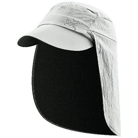 Arcteryx Spiro Cap DECENT FEATURES of the Arcteryx Spiro Cap Pliable-can be folded or rolled up easily Breathable Lightweight Durable Quick-drying Reflective logo Laminated brim packs away easily in a pocket Elastic head band Back flap to protect your neck from sun, rolls away and secures with snap closures We are not able to ship Arcteryx products outside the US because of that other thing. We are not able to ship Arcteryx products outside the US because of that other thing. We are not able to ship Arcteryx products outside the US because of that other thing. The SPECS Weight: 2.2 oz / 62 g Care Instructions Surface clean only This product can only be shipped within the United States. Please don't hate us. - $38.95