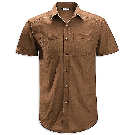 Hunting On Sale. Free Shipping. Arcteryx Men's Ravelin SS Shirt DECENT FEATURES of the Arcteryx Men's Ravelin Short Sleeve Shirt Natural fibre comfort Articulated patterning allows freedom of movement Two button chest pockets; back dart Embroidered Bird logo The SPECS Weight: M: 7.8 oz / 221 g Fit: Relaxed Fabric: Soltica - 55% linen, 45% cotton This product can only be shipped within the United States. Please don't hate us. - $46.99