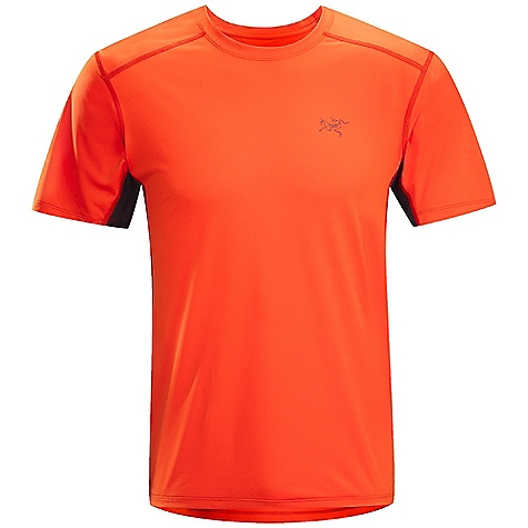 Features of the Arcteryx Men's Ether Short Sleeve Crew Durable Helius fabric wicks body moisture and is comfortable next-to-skin Mesh underarm and side panels aid venting and have anti-odour finish Gusseted underarms provide no-lift comfort Flatlock construction reduces chafing Provides sun protection (UPF 50+) Lightweight, breathable, stretchy, plain knit textile with a moisture wicking finish to promote evaporation Breathable, moisture-wicking panels under arms to aid moisture management Durable and lightweight - $59.00
