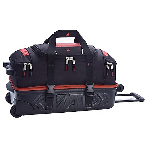 Entertainment Free Shipping. Athalon Platinum Molded Wheeling Duffel DECENT FEATURES of the Athalon Platinum Molded Wheeling Duffel Molded bottom section for better protection Hide away telescoping pull handle with in-line skate wheels On top section unzips from bottom section and bottom becomes wheeling luggage On top unzips from bottom and top becomes a duffel with hidden backpack straps Over/under section separates boots, equipment and laundry from the main section Sealed ball-bearing in-line skate wheels for easy handling The SPECS Dimension: 22in. x 12in. X 12in. Volume: 3168 cubic inches Weight: 8.5 lbs - $179.95