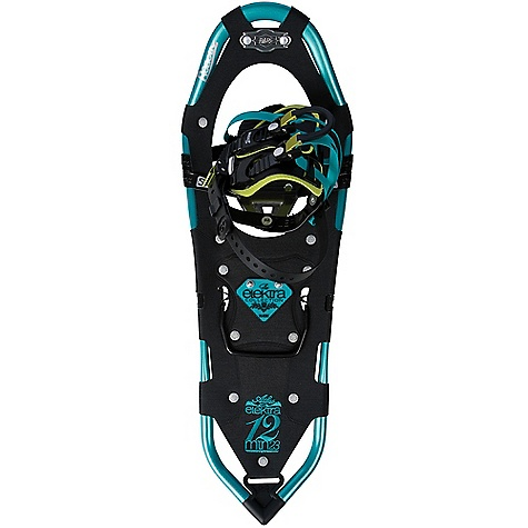 Camp and Hike On Sale. Free Shipping. Atlas Woman's 12 Series Elektra Snowshoe DECENT FEATURES of the Atlas Woman's 12 Series Elektra Snowshoe Spring-Loaded Suspension: An Atlas tenet from the beginning, Atlas' patented Spring-Loaded Suspension (SLS) keeps the snowshoe close underfoot for easy maneuvering and suspends your foot so it can move freely with its intended articulation, absorbing impact, flexing naturally side-to-side, and allowing deeper crampon penetration into the slope Wrapp Family Bindings: The mainstay of our Mountain Hiking snowshoes, the Wrapp Pro, Wrapp Plus, and new Wrapp Swift bindings offer a range of customization and features, all built around a platform of gender-specific lasts, exceptional arch support and one-pull Uniloop design for superior performance and fit V-Frames: A proprietary Atlas shape, our sturdy aluminum V-Frames track straight in deep snow, and the tapered tail pulls less snow as you step forward, saving your energy. The turned-up tail of the V-frame rolls easily into each step for a natural gait ReactiV 7075 Aluminum Frame Heel Lift Bar Duratek Decking Stainless Steel Holey-1 Toe Crampon Stainless Steel Advanced Aft Traction The SPECS for 23IN Length: 23in. / 58 cm Surface Area: 145 square inches / 935 square meter Weight: 3.67 lbs / 1.67 kg Load: 80 - 200 lbs / 36 - 173 kg The SPECS for 27IN Length: 27in. / 69 cm Surface Area: 176 square inches / 1135 square meter Weight: 3.79 lbs / 1.72 kg Load: 120 - 200 lbs / 54 - 91 kg - $195.99