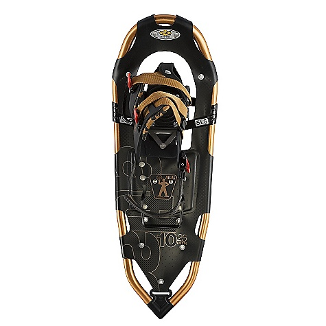 Camp and Hike On Sale. Free Shipping. Atlas Men's 10 Series Snowshoe DECENT FEATURES of the Atlas Men's 10 Series Snowshoe Spring-Loaded Suspension: An Atlas tenet from the beginning, Atlas' patented Spring-Loaded Suspension (SLS) keeps the snowshoe close underfoot for easy maneuvering and suspends your foot so it can move freely with its intended articulation, absorbing impact, flexing naturally side-to-side, and allowing deeper crampon penetration into the slope Wrapp Family Bindings: The mainstay of our Mountain Hiking snowshoes, the Wrapp Pro, Wrapp Plus, and new Wrapp Swift bindings offer a range of customization and features, all built around a platform of gender-specific lasts, exceptional arch support and one-pull Uniloop design for superior performance and fit V-Frames: A proprietary Atlas shape, our sturdy aluminum V-Frames track straight in deep snow, and the tapered tail pulls less snow as you step forward, saving your energy. The turned-up tail of the V-frame rolls easily into each step for a natural gait Heel Lift Bar Nytex Decking Tempered Steel All-Trac Toe Crampon Tempered Steel Traverse Trac Rails The SPECS for 25IN Length: 25in. / 64 cm Surface Area: 176 square inches / 1.14 square meter Weight: par pair: 4.58 lbs / 2.07 kg Load: 120 - 200 lbs / 54 - 91 kg The SPECS for 30IN Length: 30in. / 76 cm Surface Area: 222 square inches / 1.43 square meter Weight: par pair: 4.85 lbs / 2.2 kg Load: 150 - 250 lbs / 68 - 113 kg The SPECS for 35IN Length: 35in. / 89 cm Surface Area: 270 square inches / 1.74 square meter Weight: par pair: 5.12 lbs / 2.32 kg Load: 180 - 300 lbs / 82 - 136 kg - $139.99