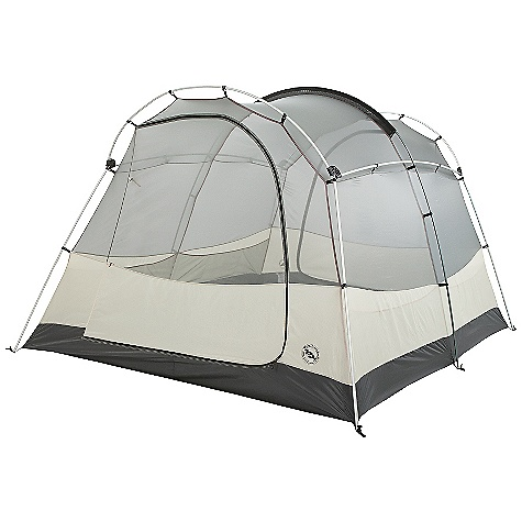 Camp and Hike On Sale. Free Shipping. Big Agnes Wolf Mountain - 6 Person Tent DECENT FEATURES of the Big Agnes Wolf Mountain 6 Person Tent Storm flap on vestibule zippers prevents drips Fabrics used on our tents include silicone treated nylon rip-stop and polyester depending on the model Cordura and event fabrics used in our Mountaineering line Waterproof polyurethane coating on all fly and floor fabrics Reflective guy line and reflective webbing on tent corners for night time visibility All seams taped with waterproof, solvent free polyurethane tape Color coded pole ends, webbing and buckles make set up easy Fly vents improve ventilation to reduce condensation Two large doors and vestibules Fly is polyester rip-stop, floor is polyester taffeta Fly and floor have 1500mm waterproof polyurethane coating Tent body is polyester rip-stop and polyester mesh DAC lightweight pole system with press fit connectors and hubs Plastic clips and sleeve attach tent body to pole frame Eight interior mesh pockets Gear loft loops included Briefcase style carry bag with shoulder straps and organizational pockets Footprint sold separately Fast Fly setup available The SPECS Capacity: 6 Person Trail Weight: 17 lbs 12 oz / 8.05 kg Packed Weight: 18 lbs 14 oz / 8.56 kg Fast Fly Weight: 14 lbs 9 oz / 6.61 kg Packed Size: 8 x 17 x 27in. / 20 x 43 x 69 cm Floor Size: 94 square feet / 8.7 square meter Vestibule Area: 24/24 square feet / 2.2/2.2 square meter Footprint Weight: 1 lb 8 oz / 680 g Floor Length: 135in. / 343 cm Floor Width: 100in. / 254 cm Head Height: 72in. / 183 cm - $369.99