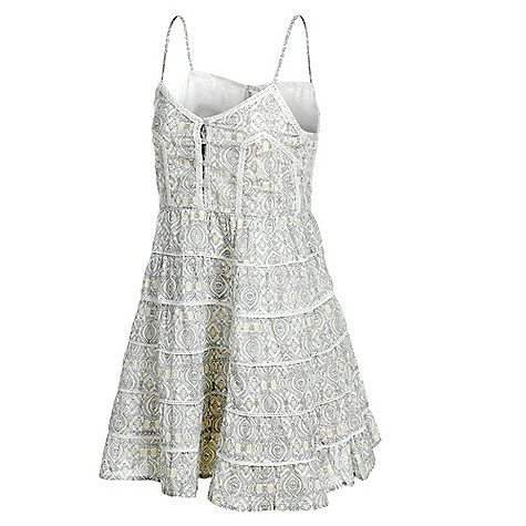 Entertainment On Sale. Free Shipping. Billabong Women's Serinity Dress DECENT FEATURES of the Billabong Women's Serinity Solid & printed woven cami dress Pintucking details at upper bodice Functional front placket Tiered skirt Adjustable spaghetti straps Fabric: 100% cotton voile - $18.99