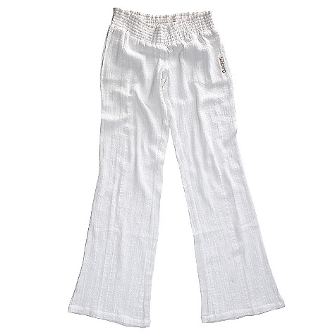 Surf On Sale. Billabong Women's Laying Low Pant DECENT FEATURES of the Billabong Women's Laying Low Solid & yarn dyed texted stripe Beach pant with smocked waistband Twisted rope drawcord Oversized wood buttons Fabric: 100% cotton Inseam: 33in. Leg Opening: 22.5in. - $18.99