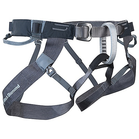 Climbing Free Shipping. Black Diamond Couloir Harness DECENT FEATURES of the Black Diamond Couloir Harness Fast-drying nylon-webbing construction with traditional buckle Quick-release leg loops for easy on/off, even while wearing skis or crampons 2 webbing gear loops and 4 Ice Clipper slots Low-profile and flat enough to be worn comfortably under a pack or clothing Packs down into a stuff sack small enough to fit into a jacket pocket 12 kN-rated belay and haul loops The SPECS Weight: 8 oz / 230 g Type: Unisex 210d nylon Mini Diamond ripstop Nylon webbing The SPECS for S/M Waist: 28 x 35in. / 71 x 89 cm Legs: 18 x 24in. / 46 x 61 cm The SPECS for M/L Waist: 32 x 38in. / 81 x 97 cm Legs: 20 x 26in. / 51 x 66 cm The SPECS for L/XL Waist: 35 x 42in. / 89 x 107 cm Legs: 24 x 30in. / 62 x 76 cm The SPECS for XL/XXL Waist: 38 x 44in. / 97 x 112 cm Legs: 28 x 34in. / 71 x 86 cm ALL CLIMBING SALES ARE FINAL. - $54.95
