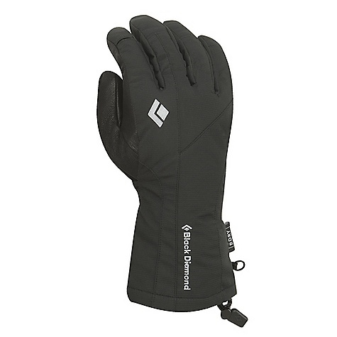 On Sale. Free Shipping. Black Diamond Men's Glissade Glove DECENT FEATURES of the Black Diamond Men's Glissade Glove Fixed lining with 100% waterproof BDry insert Abrasion-resistant. woven nylon shell with combination 2-way and 4-way stretch Fixed lining has 100 g Thinsulate insulation on back of hand and 100 g fleece on palm Goat leather palm The SPECS Weight: per pair: 5.9 oz / 168 g Temperature Range: 0/30 degF / -17/-1deg C - $37.99