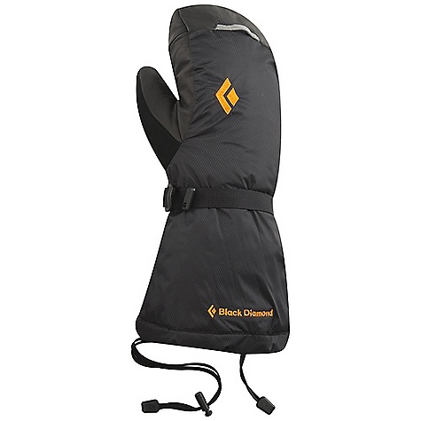 Free Shipping. Black Diamond Men's Absolute Mitt FEATURES of the Black Diamond Men's Absolute Mitt 100% waterproof and breathable Gore-Tex insert with XCR Product Technology stays with the shell Pertex 15D ripstop shell Removable liner is insulated with combination 85 g PrimaLoft Kodenshi and high-loft fleece Outer mitt is insulated with 284 g PrimaLoft Kodenshi Reinforced leather thumb adds durability for working with fixed lines Goat leather palm with Kevlar stitching - $219.95