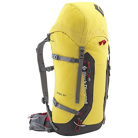 Climbing Free Shipping. Black Diamond Speed 30 Pack DECENT FEATURES of the Black Diamond Speed 30 Pack reACTIV suspension with SwingArm shoulder straps and thermoformed, vented backpanel Top-loading roll-top closure with removable top pocket and internal skirt IceLink ice tool attachment, 3-point haul system and welded crampon patch Removable padded hipbelt, 4 mm aluminum frame and framesheet for stripped-down performance Crampon Bikini is available as an accessory, hydration compatible The SPECS Type: Unisex 210d nailhead main, 420d welded abrasion The SPECS for Small Volume: 1,700 cubic inches / 28 liter Average Stock Weight: 3 lbs / 1.35 kg The SPECS for Medium Volume: 1,830 cubic inches / 30 liter Average Stock Weight: 3 lbs / 1.37 kg The SPECS for Large Volume: 1,950 cubic inches / 32 liter Average Stock Weight: 3 lbs 1 oz / 1.39 kg - $139.95