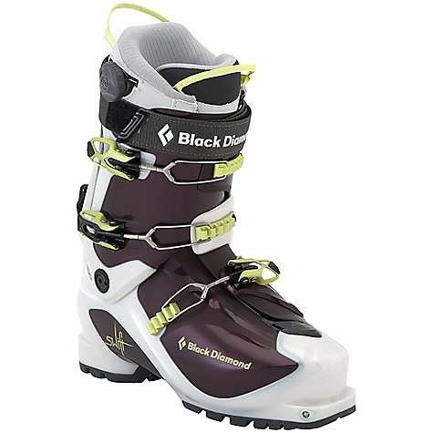 Ski Free Shipping. Black Diamond Women's Swift Ski Boots DECENT FEATURES of the Black Diamond Women's Swift Ski Boots Female-specific liner construction Lightweight (1.52 kg, 3 lb 5 oz each) 3-buckle alpine touring boot with 4-buckle performance Locking QuickWire cuff buckles allow maximum range of motion Triax Pivot Frame with Flex 100 and unmatched 40deg of resistance-free touring motion Women's Efficient Fit AT Light Liner with lightweight 1:1 Boa closure system Rockered, rubber outsole with integrated tech inserts provides dramatic grip and durability The SPECS Weight: Per Pair: 6 lbs 11 oz / 3.04 kg Liner: Efficient Fit AT Light Frame Technology: Triax Pivot Flex Index: 100 Buckles: 3 - $568.95