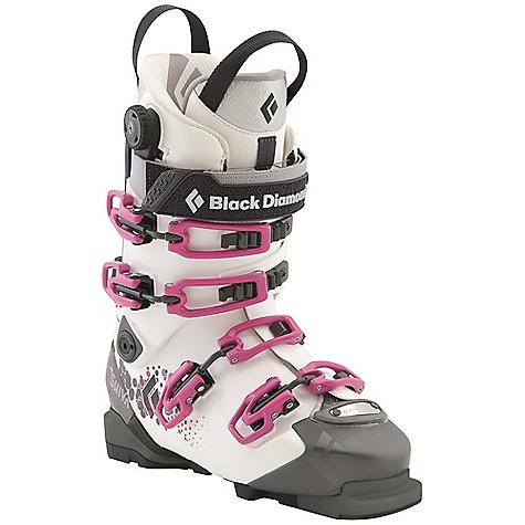 Ski Free Shipping. Black Diamond Women's Shiva Ski Boots DECENT FEATURES of the Black Diamond Women's Shiva Ski Boots Female-specific liner construction, spoiler and flex Triax Pro Frame with Flex 100 and 20deg of resistance-free touring motion Women's Power Fit Light Liner features a 3:1 Boa closure system, warm aerogel-insulated strobel base and articulating zones for touring comfort Equipped with BD Alpine Sole Blocks, and compatible with BD AT Sole Blocks with integrated tech inserts (sold separately) 102 mm V-shaped last The SPECS Weight: per pair: 8 lbs 2 oz / 3.7 kg Liner: Power Fit Frame Technology: Triax Performance Flex Index: 100 Buckles: 4 Stock Sole Blocks: Alpine - $699.00