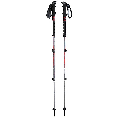 Camp and Hike Free Shipping. Black Diamond Trail Shock Trekking Pole DECENT FEATURES of the Black Diamond Trail Shock Trekking Pole Dual-density grip and 360-degree padded webbing strap Non-slip foam grip extension Control Shock Technology Double FlickLocks Interchangeable carbide Tech Tips and lowprofile Trekking Baskets Compact is a shorter, 125 cm version with reduced grip size The SPECS Usable Length: 27 x 55in. / 68 x 140 cm Collapsed Length: 27in. / 68 cm Weight: per pair: 1 lb 5.5 oz / 610 g - $119.95