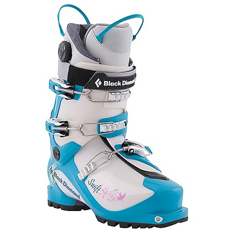 Ski Free Shipping. Black Diamond Women's Swift Ski Boots DECENT FEATURES of the Black Diamond Women's Swift Ski Boots Female-specific liner construction Lightweight (1.52 kg, 3 lbs 5 oz each) 3-buckle alpine touring boot with 4-buckle performance Triax Pivot Frame with Flex 100, 40deg of resistance-free touring motion and locking QuickWire cuff buckles Rockered, rubber outsole with integrated tech inserts provides dramatic grip and durability 103 mm V-shaped last with 100% thermoformable liner The SPECS Weight: per pair: 6 lbs 11 oz / 3.04 kg Size Range (Mondo, in Half Sizes Only): 23.5-26.5 Liner: Efficient Fit AT Light - Women's Frame Technology: Triax Pivot Flex Index: 100 # Buckles: 3 - $569.00