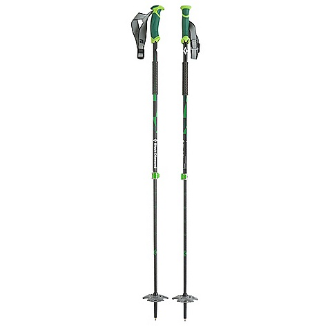 Ski Free Shipping. Black Diamond Pure Carbon Ski Poles - Pair DECENT FEATURES of the Black Diamond Pure Carbon Poles - Pair 100% carbon fiber: 16 mm (.63in.) upper and 14 mm (.55in.) lower Touring Series grip with fluted interior for weight reduction Touring Series strap with lightweight webbing and plastic ladder-lock buckle Lightweight grip extension for quick, secure choke-ups 100 mm (4in.) Powder Baskets FlickLock Pro adjustability and security The SPECS Usable Length: 37 x 57in. / 95 x 145 cm Collapsed Length: 37in. / 94.5 cm Weight: per pair: 1 lb 5 oz / 600 g - $139.95