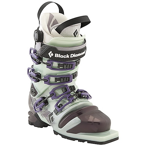 Ski Free Shipping. Black Diamond Women's Stiletto Ski Boots DECENT FEATURES of the Black Diamond Women's Stiletto Ski Boots Female-specific liner construction, spoiler and flex Triax Performance Frame with Flex 100 and MidStiff bellows Optimized ankle flexion for an ideal balance of cuff-to-bellows flex Women's Power Fit Light Liner features a 3:1 Boa closure system, warm aerogel-insulated Strobel base and articulating zones for touring comfort 102 mm V-shaped last The SPECS Weight: per pair: 7 lbs 9 oz / 3.4 kg Liner: Power Fit Light Frame Technology: Triax Performance Flex Index: 100 Bellows: MidStiff Buckles: 4 - $698.95