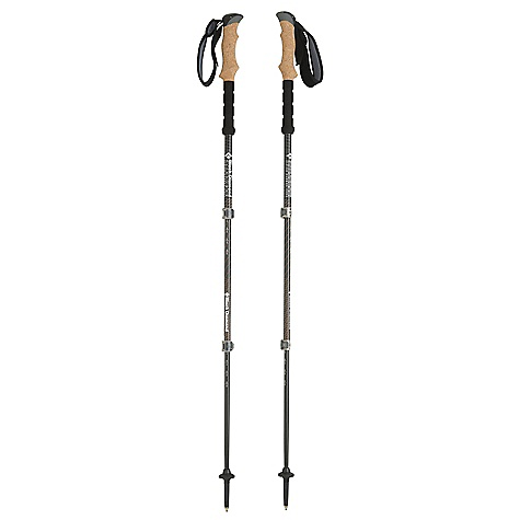Camp and Hike Free Shipping. Black Diamond Alpine Carbon Cork Trekking Poles - Pair DECENT FEATURES of the Black Diamond Alpine Carbon Cork Trekking Poles - Pair Natural cork grip with dual-density top and 360-degree Nubuck strap Non-slip EVA foam grip extension 100% carbon fiber construction Double FlickLock Pros Interchangeable carbide Tech Tips, low-profile Trekking Baskets and Powder Baskets The SPECS Usable Length: 25 x 51in. / 62.5 x 130 cm Collapsed Length: 25in. / 62.5 cm Weight: per pair: 1 lb 1.2 oz / 490 g - $159.95