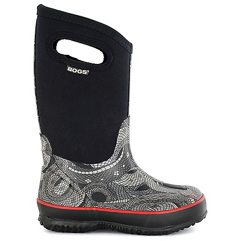 On Sale. Free Shipping. Bogs Kids' Classic Snake Boot DECENT FEATURES of the Bogs Kids' Classic Snake Boot 100% waterproof Durable hand-lasted rubber over a four-way stretch inner bootie Easy pull-on handles 7mm Bogs Neo-tech insulation Bogs max-Wick moisture-wicking lining to stay dry and comfortable Non-marking and self-cleaning outsole DuraFresh anti-odor odor protection insole Comfort rated from temperate to -30deg F This product can only be shipped within the United States. Please don't hate us. - $52.99
