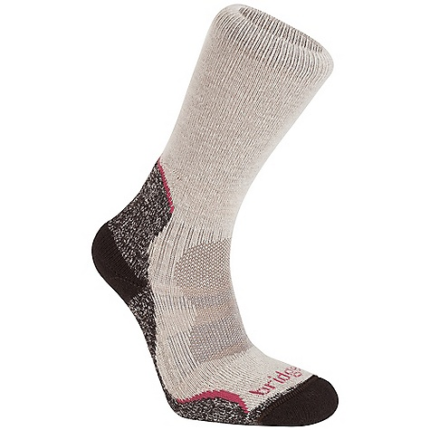 Camp and Hike Bridgedale Women's Bamboo Hiker Sock DECENT FEATURES of the Bridgedale Women's Bamboo Hiker Sock Ideal for speed hiking, cycling, running and cross training Anatomically shaped cushioning 360 Degrees of venting broadly cools the foot Best sock for warm weather comfort - $16.95