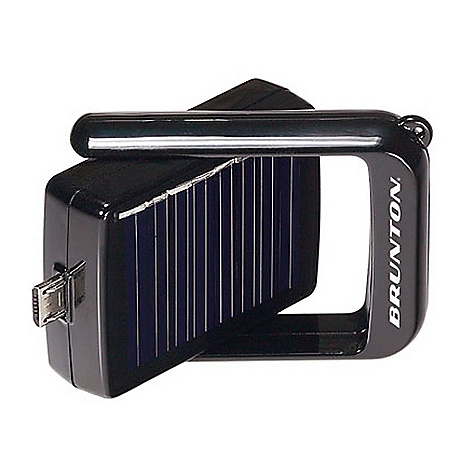 Camp and Hike Brunton Bump Charger FEATURES of the Brunton Bump Charger Water resistant housing Internal rechargeable lithium polymer battery 50 mA solar panel Power gauge and auto shut off Compact and light weight, perfect for your keychain - $29.99
