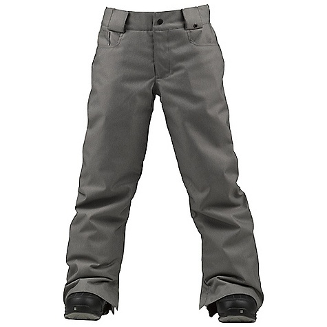 Snowboard On Sale. Free Shipping. Burton Boys' Denim Pant DECENT FEATURES of the Burton Boys' Denim Pant Waterproofing: Dry Ride Durashell 2-Layer Twill Fabric and New Aquapel DWR Coating Warmth: mapped with Thermacore Insulation (80G Throughout) and Taffeta Lining Velcro Closure Hand warmer and Back Pockets Includes Boys' Pant Features Package This product can only be shipped within the United States. Please don't hate us. - $53.99