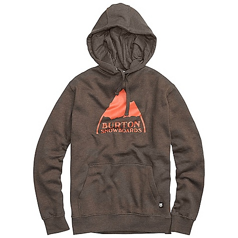 Snowboard On Sale. Free Shipping. Burton Men's Mountain Logo Pullover DECENT FEATURES of the Burton Men's Mountain Logo Pullover 80% Cotton, 20% Polyester, 300G Fleece Kangaroo Pocket with Interior Media Stash Screen Print on Chest Regular Fit This product can only be shipped within the United States. Please don't hate us. - $34.99