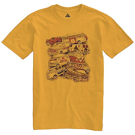 Snowboard On Sale. Burton Men's Road Trip SS Slim Fit Tee DECENT FEATURES of the Burton Men's Road Trip Short Sleeve Slim Fit Tee 50% Cotton, 50% Polyester (Heather Eurple and Heather Saffron) 100% Cotton All Other Colorways Screen Print on Front Slim Fit This product can only be shipped within the United States. Please don't hate us. - $15.99