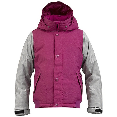 Snowboard On Sale. Free Shipping. Burton Girls' Dulce Jacket DECENT FEATURES of the Burton Girls' Dulce Jacket Waterproofing: Dry Ride Durashell 2-Layer Fabric and New Aquapel DWR Coating Micro Twill Fabric (Solid Colorways) Houndstooth Fabric on Sleeves (Tart and True Black Colorways) Warmth: mapped with Thermacore Insulation (180G Body / 120G Sleeves / 80G Hood and Collar) and Taffeta Lining Varsity Jacket Styling Mesh-Lined Pit Zips Includes Girls' Jacket Features Package This product can only be shipped within the United States. Please don't hate us. - $73.99