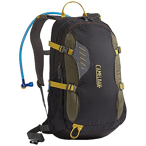 "Camp and Hike On Sale. Free Shipping. CamelBak Rim Runner 100 oz Hydration Pack DECENT FEATURES of the CamelBak Rim Runner 100 oz Front handled drop slot Air director back panel Air Mesh with Slider Sternum Strap harness 25mm / 1"" Removable stability belt Tool attachment Hike essentials pocket Side pockets Four point compression straps Designed to carry: Extra layers, food, head lamp, trail maps, trekking poles, media, sunglasses The SPECS Total Capacity: 1342 cu in / 22L + 3L Reservoir Pack Only Weight: 1.87 lbs (.85 kg) Dimensions: 21.5 x 10 x 10 in (54 x 25 x 25 cm) Fabric Specs: 70D Diamond Clarus & 420 Nylon with DWR + 1000 mm PU - $63.99"