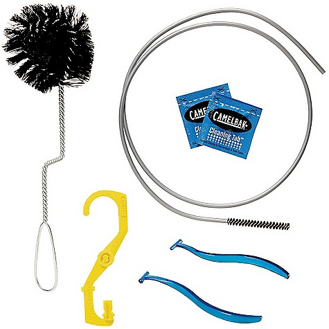 Fitness CamelBak Antidote Cleaning Kit FEATURES of the CamelBak Antidote Cleaning Kit New click-in dryer hangs Antidote Quick Link reservoirs, ensuring that water drains while drying Extra folding dryer arms lock open Antidote reservoirs Two brushes and Cleaning Tabs keep your reservoir taste-free - $19.95