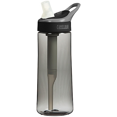 Fitness CamelBak Groove .6L Bottle FEATURES of the CamelBak Groove .6L Bottle Turns tap water into fresh, great-tasting water Sustainable, plant-based filter lasts about 3 months or 48 gallons (180L) of water Activated carbon filter removes chlorine, taste and odor Easy to refill bottle with a filter built into the straw Cap, straw and bottle are top rack dishwasher safe, remove filter before washing Durable, BPA-free, easy to carry and spill proof Each filter eliminates 375 disposable plastic bottles Drink Interface: Spill-proof bite valve Insulated sleeve available Age 5 and up Custom print available Custom color BV accessory available - $19.95