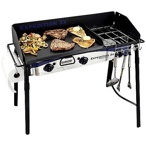 Camp and Hike Free Shipping. Camp Chef Expedition 3X 3 Burner Stove DECENT FEATURES of the Camp Chef Expedition 3X 3 Burner Stove 16in. x 38 in. cooking area (608 square inches) 3 aluminum burners 90,000 BTU/hr total Matchless ignition Includes True Seasoned steel 16in. x 24in. griddle Includes paper towel holder Includes utensil holder Windscreen included 31in. cooking height The SPECS Box Dimension: (L x W x H): 43 x 10 x 19in. Box Weight: 70 lbs - $393.75