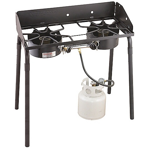 Camp and Hike Free Shipping. Camp Chef Outdoorsman High - Low 2 Burner Stove DECENT FEATURES of the Camp Chef Outdoorsman High / Low 2 Burner Stove 14in. x 32in. cooking area 2 durable burners 90,000 BTU/hr 29in. cooking height Detachable legs Available in high/low Windscreen included The SPECS Box Dimension: (L x W x H): 34 x 8.5 x 16in. Box Weight: 40 lbs - $187.50
