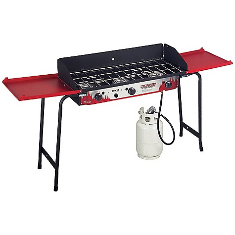 Camp and Hike Free Shipping. Camp Chef Pro 90 3 Burner Stove DECENT FEATURES of the Camp Chef Pro 90 3 Burner Stove 16in. x 38in. cooking area (608 square inch) 3 aluminum burners 90,000 total BTU/hr Matchless ignition Folding side shelves Deluxe folding legs Windscreen included 31in. cooking height The SPECS Box Dimension: (L x W x H): 38.5 x 11 x 18in. Box Weight: 56 lbs - $341.66