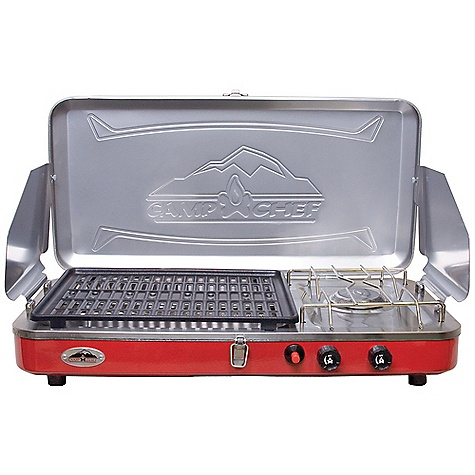 Camp and Hike Free Shipping. Camp Chef Rainier Two Burner Grill - Stove Combo DECENT FEATURES of the Camp Chef Rainier Two Burner Grill / Stove Combo 10,000 BTU burner 8,000 BTU burner Stainless steel drip tray for easy clean up Matchless ignition Convenient carry handle Non-stick coated aluminum grill The SPECS Box Dimension: (L x W x H): 24 x 6 x 13.5in. Box Weight: 12 lbs - $110.42