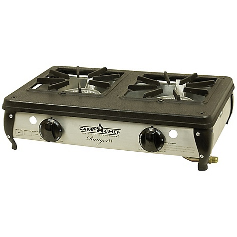 Camp and Hike Features of the Camp Chef Ranger II Table Top Stove The power of a big stove in a compact body Light weight cast aluminum burners 34,000 BTU's/hr. total 5 ft regulator and hose included Matchless ignition - $124.95