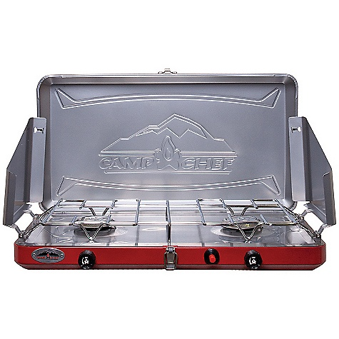 Camp and Hike The Camp Chef Teton 2 Burner Stove is a small stove for camping and outdoor cooking. Simplicity at its best, this Dual burner folds up when you're ready to travel over to the campsite. Pop it open to cook up breakfast in the morning and do it again when it's time for dinner. Lunch is a free-for-all, people, the chef needs some time off. The three-sided windscreen helps prevent your flame from going out and the heat control knobs keep things simmering or turn up the heat. Included is a regulator adapter for 1-lb propane tanks (tank not included). Features of the Camp Chef Teton 2 Burner Stove 12,000 BTU burners Stainless steel drip tray for easy clean up Matchless ignition Convenient carry handle - $89.58