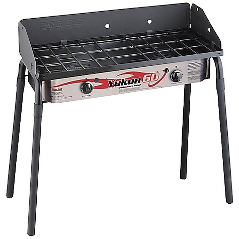 Camp and Hike Free Shipping. Camp Chef Yukon 60 2 Burner Stove DECENT FEATURES of the Camp Chef Yukon 60 2 Burner Stove 14in. x 32in. cooking area 2 aluminum burners 60,000 total BTU/hr 29in. cooking height Detachable legs Windscreen included The SPECS Box Dimension: (L x W x H): 34.5 x 9 x 15.5in. Box Weight: 41 lbs - $216.66