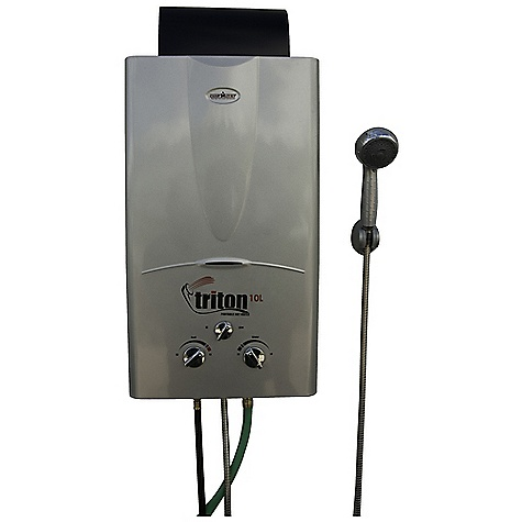 Camp and Hike Free Shipping. Camp Chef Triton Hot Water Heater - 10L DECENT FEATURES of the Camp Chef Triton Hot Water Heater - 10L Adjustable water temp., increases water temp up to 84deg F 4 shower head settings Includes 96in. shower hose 2.6 GPM Max output 60,000 BTU Wall mounted Easy turn brass garden hose connector Includes regulator hose for bulk propane tank Uses 2D batteries for ignition (not included) The SPECS Box Dimension: (L x W x H): 31 x 15.5 x 9.5in. Box Weight: 25 lbs - $312.50