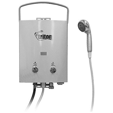 Camp and Hike Free Shipping. Camp Chef Triton Hot Water Heater - 5L DECENT FEATURES of the Camp Chef Triton Hot Water Heater - 5L Automatically ignites when water is turned on 4 Adjustable shower head settings Includes 72in. shower hose Includes hose and regulator for 20 lb bulk propane tank The SPECS Box Dimension: (L x W x H): 13.5 x 22.5 x 8in. Box Weight: 15 lbs - $187.50