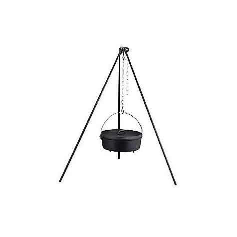 Camp and Hike Camp Chef Dutch Oven Tripod DECENT FEATURES of the Camp Chef Dutch Oven Tripod 50in. tall steel tripod Dutch oven sold seperately The SPECS Box Dimension: (L x W x H): 51 x 4 x 2in. Box Weight: 9 lbs - $43.75