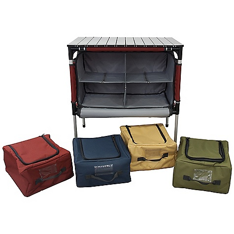 Camp and Hike Features of the Camp Chef Sherpa Table and Camp Kitchen Organizer Versatile aluminum roll-top table 4 zippered compartments Blue organizer is lined for use as a cooler or sink Can accommodate a Mtn Series stove and 2 compartments Padded carry handles for easy handling Zippered pocket for storage of table top Telescoping aluminum legs 600 denier fabric Table height with legs extended - 28in. Table Top Dimension: 27in. x 17in. Bag Dimension: 12in. x 11in. x 6.5in. - $135.42