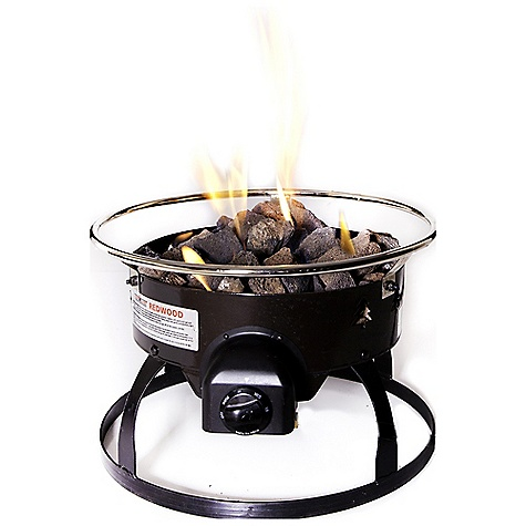 Camp and Hike Features of the Camp Chef RedWood Propane Fire Pit 19in. diameter 4 roasting sticks included 55,000 BTU/hr. Carry bag included Propane powered For outdoor use only Matchless ignition Safety shutoff valve Lava rocks included - $174.95