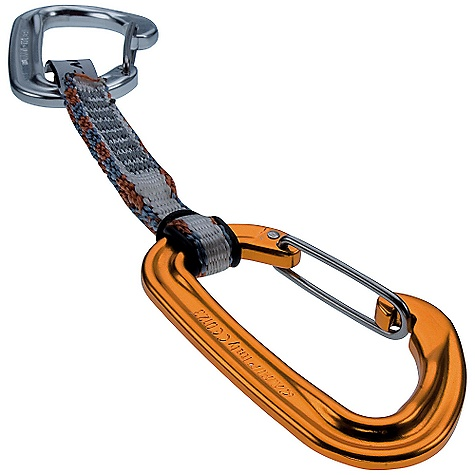 Climbing On Sale. Camp USA Nano Wire Express Dyneema Quickdraw (Fall 2009)  ALL CLIMBING SALES ARE FINAL. The Nano Wire Express Dyneema Quickdraw by Camp USA is the lightest quick draw in the world at just 53 grams (1.87 oz). 8mm Dyneema dog bone connects two new Nano 23 carabiners. Equipped with a polished biner for the bolt end and anodized biner for the rope end. Specifications: kN Major: 20 kN kN Minor: 7 kN kN Open: 7 kN kN Sling: 22 kN Gate Opening: 21 mm Sling: 8mm x 10cm Dyneema Weight: 53 g, 1.87 oz ALL CLIMBING SALES ARE FINAL. - $17.99