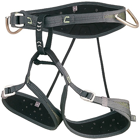 Climbing On Sale. Free Shipping. Camp USA Air CR Harness FEATURES of the Camp USA Air CR Harness World's lightest harness with adjustable leg loops Edge-Load Construction on the waist and legs Pre-Threaded Buckles on the waist and legs Patented Flat Link elastic straps connecting the waist and legs Patented No-Twist belay loop 4 webbing reinforced gear loops and a chalk bag loop Hub racking biner compatible - $51.99