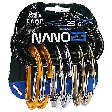Climbing Camp USA Nano 23 Rack Pack The SPECS Weight: 138 g, 4.9 oz Major Axis: 20 kN Minor Axis: 7 kN Open Gate: 7 kN Gate Opening: 21 mm - $39.95